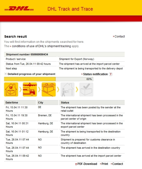 DHL shipping to norway