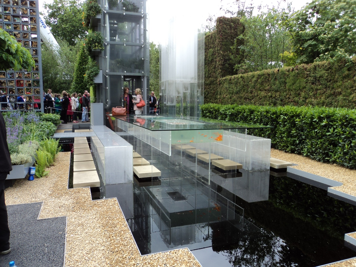 Chelsea flower show - water garden and fish tank